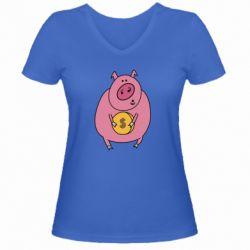 Жіноча футболка з V-подібним вирізом Pig and $
