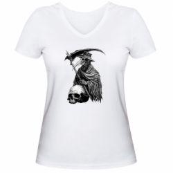 Жіноча футболка з V-подібним вирізом Plague Doctor graphic arts