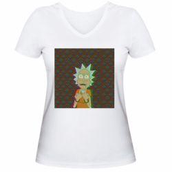 Женская футболка с V-образным вырезом Rick Fck Hologram