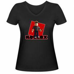 Женская футболка с V-образным вырезом Roblox Builderman