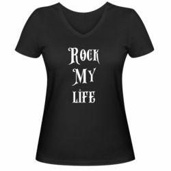 Женская футболка с V-образным вырезом Rock my life