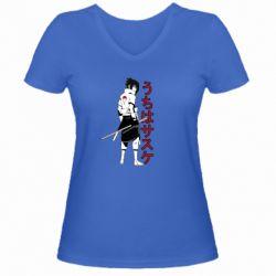 Жіноча футболка з V-подібним вирізом Sasuke Art