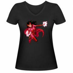 Жіноча футболка з V-подібним вирізом Scarlet Witch comic art