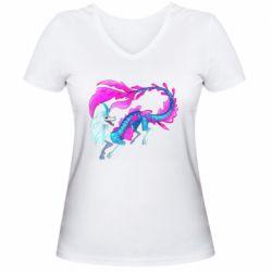 Жіноча футболка з V-подібним вирізом Sisu Water Dragon