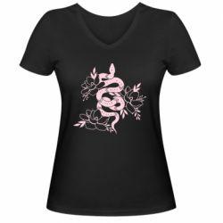 Жіноча футболка з V-подібним вирізом Snake with flowers