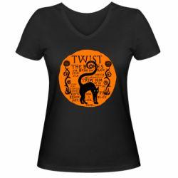Женская футболка с V-образным вырезом TWIST