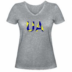 Женская футболка с V-образным вырезом UA Ukraine