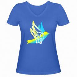 Жіноча футболка з V-подібним вирізом Україна Ластівка