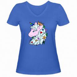 Жіноча футболка з V-подібним вирізом Unicorn Princess