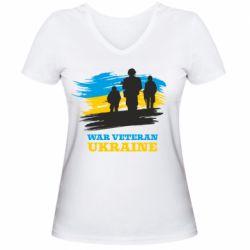 Жіноча футболка з V-подібним вирізом War veteran оf Ukraine