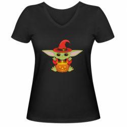 Жіноча футболка з V-подібним вирізом Yoda conjures