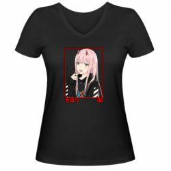 Жіноча футболка з V-подібним вирізом Zero Two Modern Style