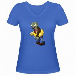 Жіноча футболка з V-подібним вирізом Zombie with a duck