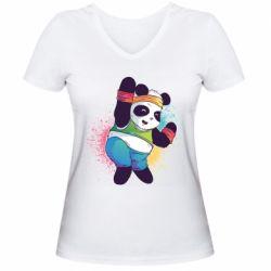 Жіноча футболка з V-подібним вирізом Zumba Panda