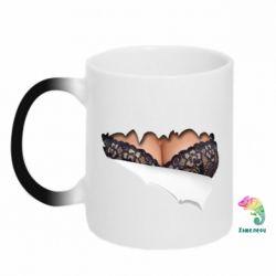 Кружка-хамелеон Жіночі груди в бюстгальтері