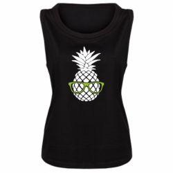 Женская майка Pineapple with glasses