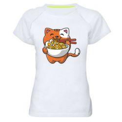 Жіноча спортивна футболка Cat and Ramen
