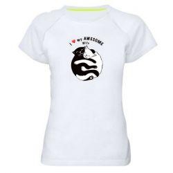 Женская спортивная футболка Cats with a smile