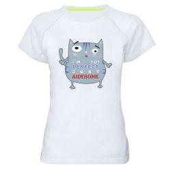 Женская спортивная футболка Cute cat and text