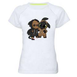 Женская спортивная футболка Groot And Toothless