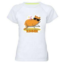Жіноча спортивна футболка Котик на пляжі