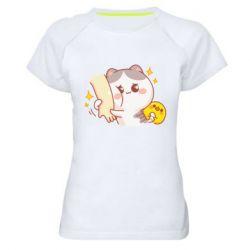 Жіноча спортивна футболка Кішка тримає руку