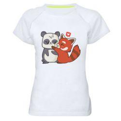 Жіноча спортивна футболка Panda and fire panda
