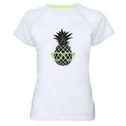 Женская спортивная футболка Pineapple with glasses