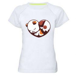 Жіноча спортивна футболка Сердечко. Котик и собачка