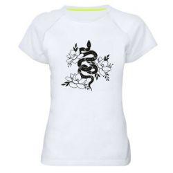 Жіноча спортивна футболка Snake with flowers