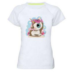 Жіноча спортивна футболка Unicorn with flowers