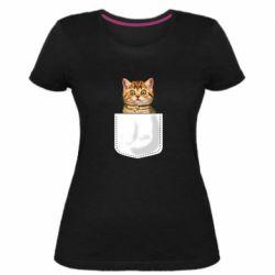 Женская стрейчевая футболка Cat in your pocket