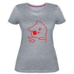 Жіноча стрейчева футболка Cheerful kitten