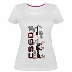 Женская стрейчевая футболка CSGO and gun