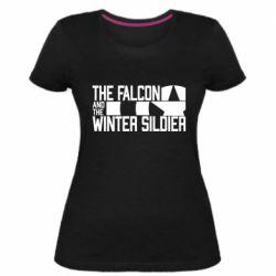 Жіноча стрейчева футболка Falcon and winter soldier logo