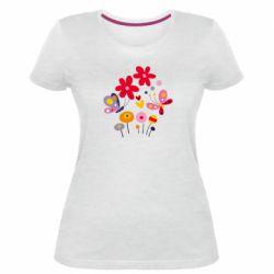 Женская стрейчевая футболка Flowers and Butterflies