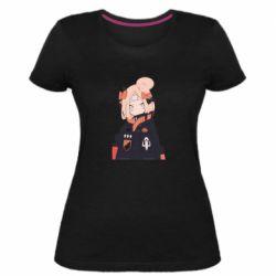Жіноча стрейчева футболка Girl in a jacket