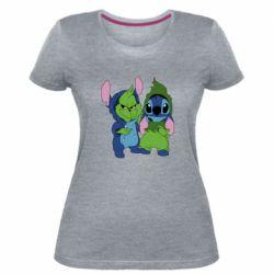 Жіноча стрейчева футболка Грінч і Стіч