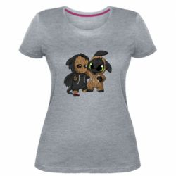 Женская стрейчевая футболка Groot And Toothless