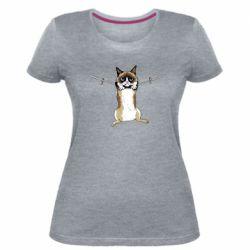 Женская стрейчевая футболка Grumpy Cat On The Rope