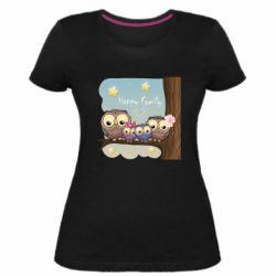Жіноча стрейчева футболка Happy family