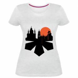 Жіноча стрейчева футболка Kiev city of chestnuts