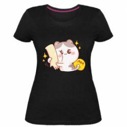 Жіноча стрейчева футболка Кішка тримає руку