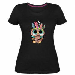 Жіноча стрейчева футболка Little owl with feathers