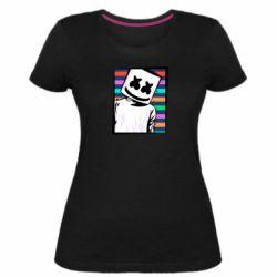 Женская стрейчевая футболка Marshmello Colorful Portrait