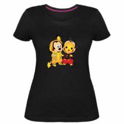 Женская стрейчевая футболка Mickey and Pikachu