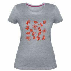 Жіноча стрейчева футболка Наскальний Живопис