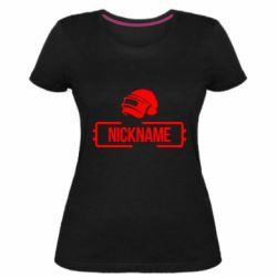 Жіноча стрейчева футболка Nickname helmet pubg
