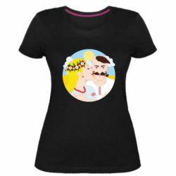 Жіноча стрейчева футболка Пара козак і козачка.