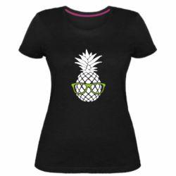 Женская стрейчевая футболка Pineapple with glasses